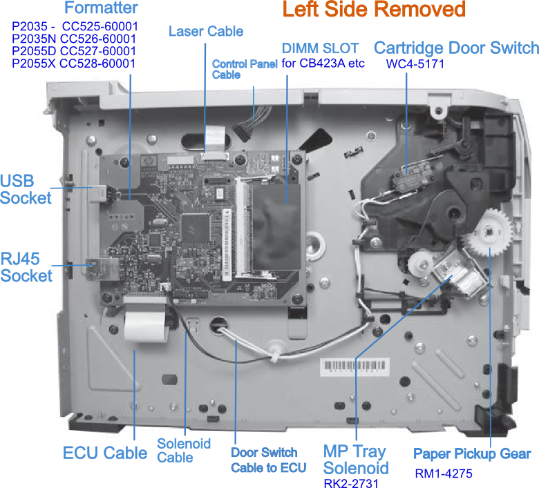 hp laserjet p2035 and p2055 left and right side views rh mindmachine co uk hp laserjet p2055dn service manual free download hp lj p2055dn service manual