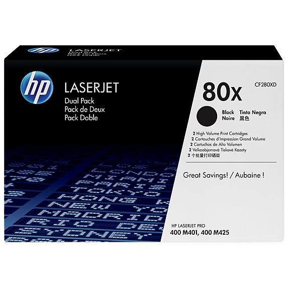 CF280XD  HP 80X High Capacity Dual Pack Black Toner Cartridge for HP M401/M425